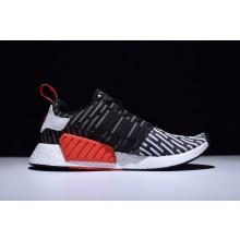Adidas NMD R2 Primeknit Black White Red Stripes