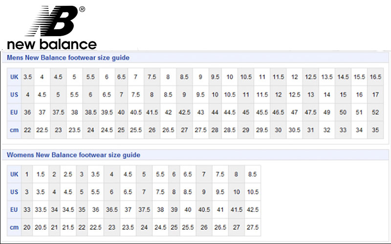 Image result for new balance shoe sizing chart
