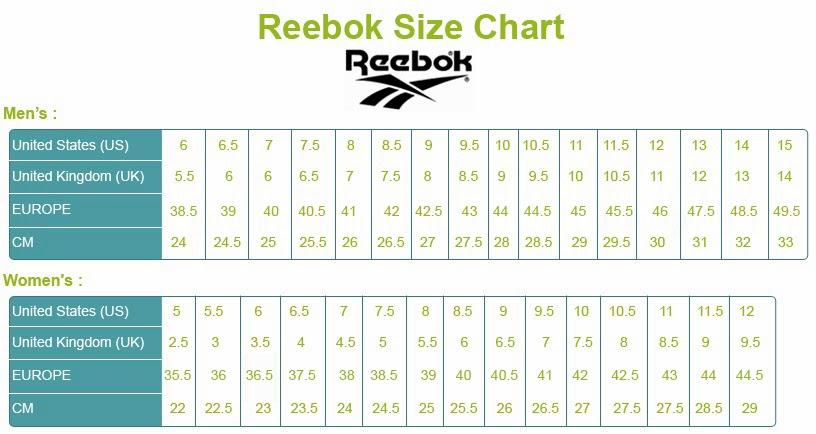 reebok chaussures size chart